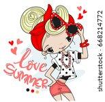 cute pin up girl in summer... | Shutterstock .eps vector #668214772