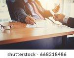 business people meeting. hand... | Shutterstock . vector #668218486