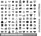 100 sweepstakes icons set in... | Shutterstock .eps vector #668219866