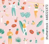 summer beach seamless pattern... | Shutterstock .eps vector #668221372