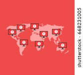 global cyber attack on... | Shutterstock .eps vector #668231005