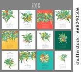 floral gentle calendar 2018.... | Shutterstock .eps vector #668240506