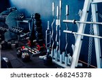 sports equipment of the gym ... | Shutterstock . vector #668245378