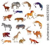 watercolor animal collection | Shutterstock . vector #668253502