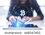 Cryptocurrency graph on virtual screen. Business, Finance and technology concept. Bitcoin, Ethereum. - stock photo