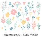 set of lowers and plants.... | Shutterstock .eps vector #668274532