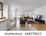modern apartment with open...   Shutterstock . vector #668278012