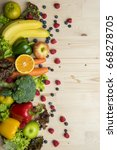 vegetables and fruits on wood... | Shutterstock . vector #668278705