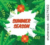 summer sale background  leaves... | Shutterstock .eps vector #668279302