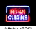 indian cuisine neon sign at... | Shutterstock . vector #66828463
