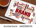 brand and branding word cloud... | Shutterstock . vector #668288656