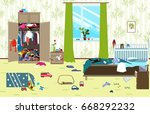 messy room where young family... | Shutterstock .eps vector #668292232