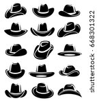 cowboy hat set. vector | Shutterstock .eps vector #668301322