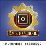 golden badge with bank safe... | Shutterstock .eps vector #668305012