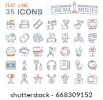 set of line icons  sign and... | Shutterstock . vector #668309152