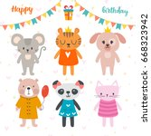happy birthday design with cute ... | Shutterstock .eps vector #668323942