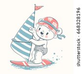 cute baby bear windsurfer... | Shutterstock .eps vector #668328196