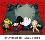 children in halloween costume... | Shutterstock .eps vector #668334565