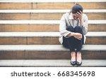 upset young caucasian beautiful ... | Shutterstock . vector #668345698