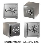 Small photo of Collection of Realistic Safe Box. High Detailed 3d Rendering Isolated on White Background