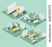 set of 3d flat isometric... | Shutterstock . vector #668350372