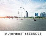 empty road with modern... | Shutterstock . vector #668350735