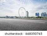 empty road with modern... | Shutterstock . vector #668350765