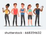 fitness character set vector... | Shutterstock .eps vector #668354632