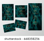 wedding set cards with marble... | Shutterstock .eps vector #668358256