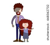 father and daugther | Shutterstock .eps vector #668362732