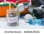 travel budget   save money on... | Shutterstock . vector #668363026