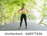 sport woman warming and... | Shutterstock . vector #668377636