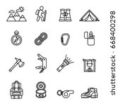 camping black thin line icon... | Shutterstock .eps vector #668400298