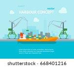 cartoon harbour of port town on ... | Shutterstock .eps vector #668401216