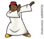 cartoon moroccan man dabbing... | Shutterstock .eps vector #668404156
