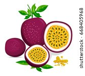 half of passion fruit icon.... | Shutterstock .eps vector #668405968