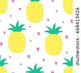 vector seamless pineapple fruit ... | Shutterstock .eps vector #668413426