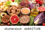 selection of healthy food | Shutterstock . vector #668427148