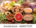 selection of healthy food | Shutterstock . vector #668427235