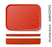 Red Plastic Tray Salver....