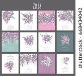 tropical template calendar 2018.... | Shutterstock .eps vector #668434042