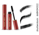 pink mascara product   black... | Shutterstock .eps vector #668434312