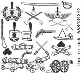 old weapons  muskets  sabers ... | Shutterstock .eps vector #668434342