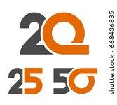 20 25 50 anniversary number... | Shutterstock .eps vector #668436835