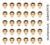 emotions set. man with... | Shutterstock . vector #668443978