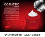opened night cream with rose... | Shutterstock .eps vector #668462566