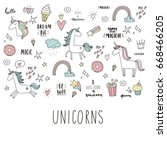 unicorn and magic. cute print | Shutterstock .eps vector #668466205