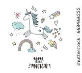 unicorn and magic. cute print | Shutterstock .eps vector #668466232