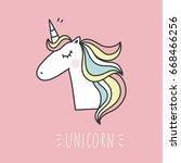 unicorn and magic. cute print | Shutterstock .eps vector #668466256