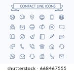 contact line mini icons... | Shutterstock .eps vector #668467555